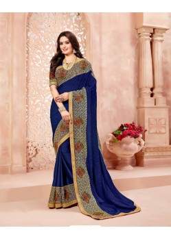 Decent Navy Blue Art Silk Embroidered Saree