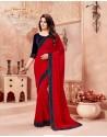 Flawless Crimson Crepe Chiffon Embroidered Saree