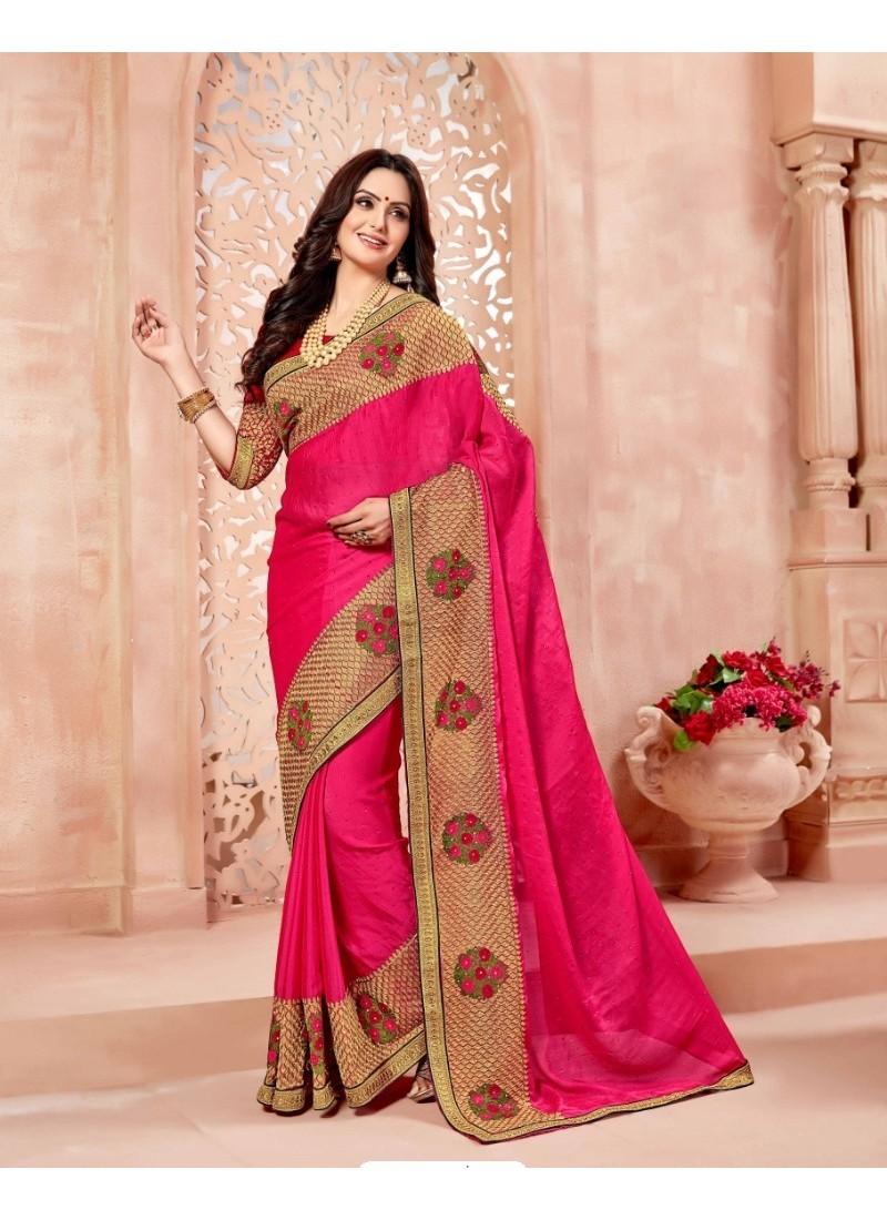 Marvelous Rani Art Silk Embroidered Saree