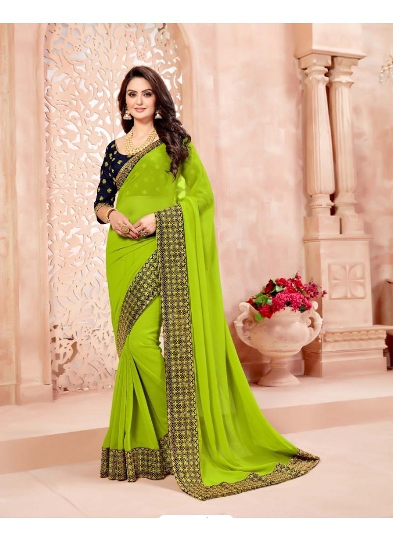 Gorgeous Green Crepe Chiffon Embroidered Saree