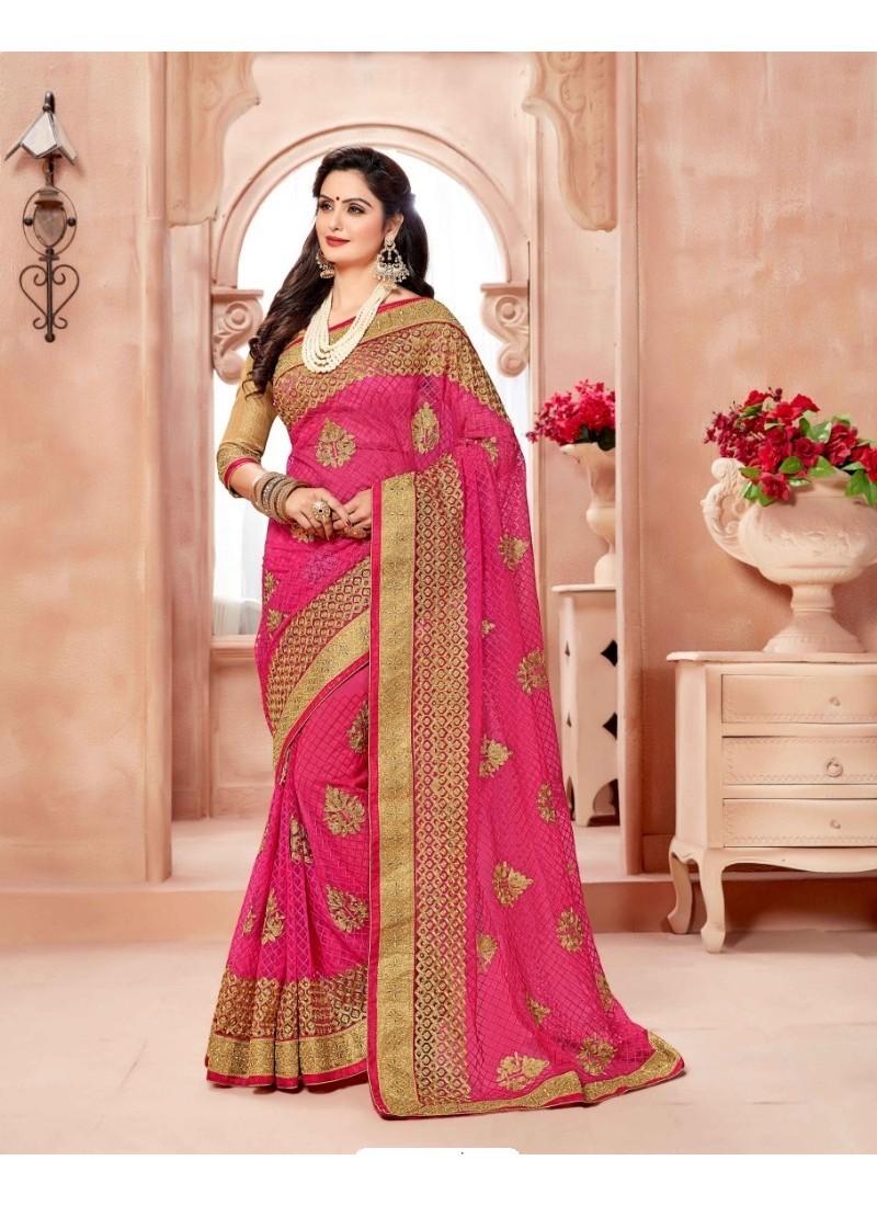 Mesmeric Rani Net Embroidered Saree