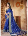 Glowing Royal Blue Silk Embroidered Saree