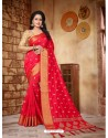 Radiant Red Silk Embroidered Saree