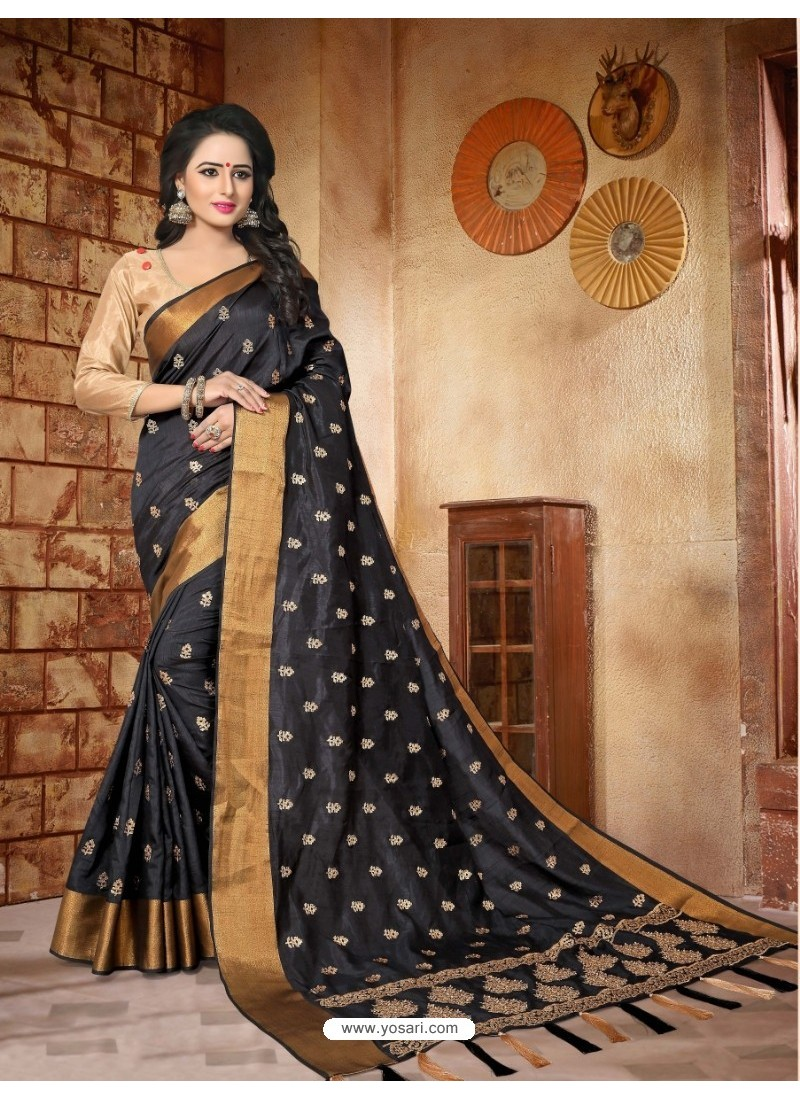 Exceptional Black Silk Embroidered Saree