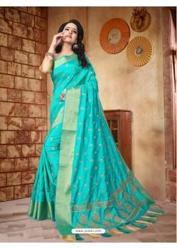 Deserving Sky Blue Silk Embroidered Saree