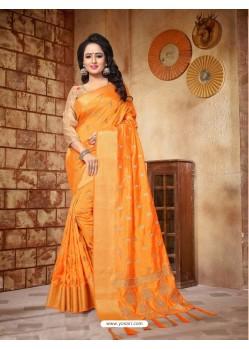 Fantastic Orange Silk Embroidered Saree