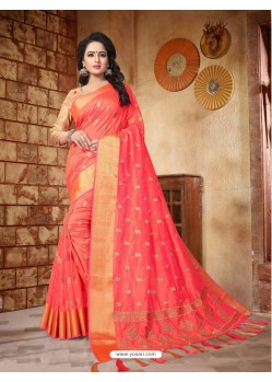 Fashionistic Dark Peach Silk Embroidered Saree