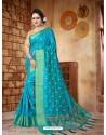 Beautiful Turquoise Silk Embroidered Saree