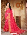 Beauteous Crimson Silk Embroidered Saree