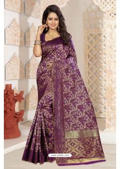 Girlish Deep Wine Silk Saree