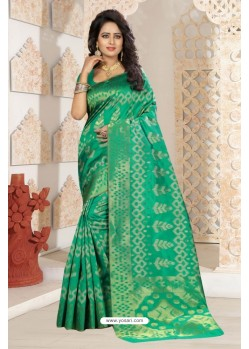 Observable Jade Green Silk Saree
