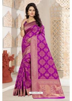 Desirable Purple Silk Saree