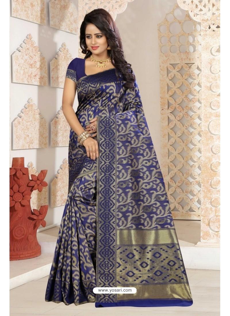 Phenomenal Navy Blue Silk Saree