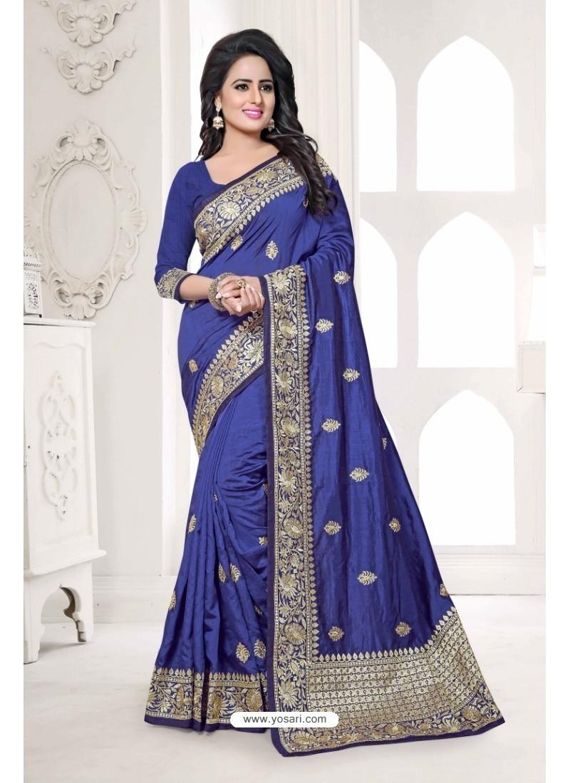 Fab Dark Blue Art Silk Embroidered Saree