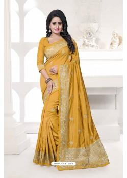 Fabulose Yellow Art Silk Embroidered Saree