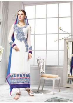 White And Blue Georgette Churidar Suit