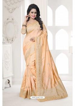 Adorable Cream Art Silk Embroidered Saree