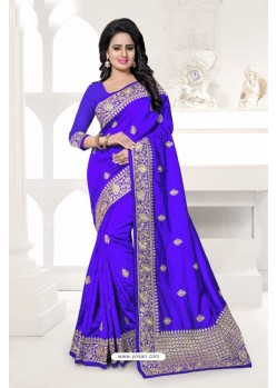 Awesome Royal Blue Art Silk Embroidered Saree