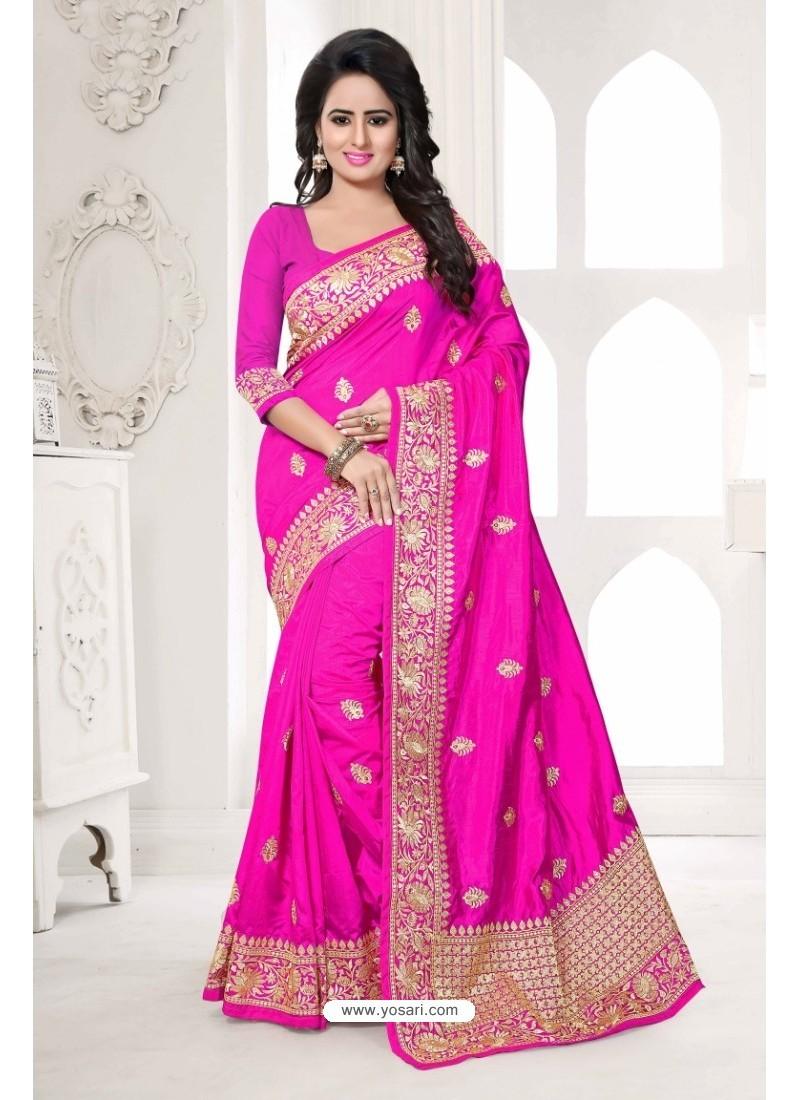Asthetic Pink Art Silk Embroidered Saree