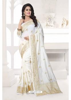 Fashionable White Art Silk Embroidered Saree