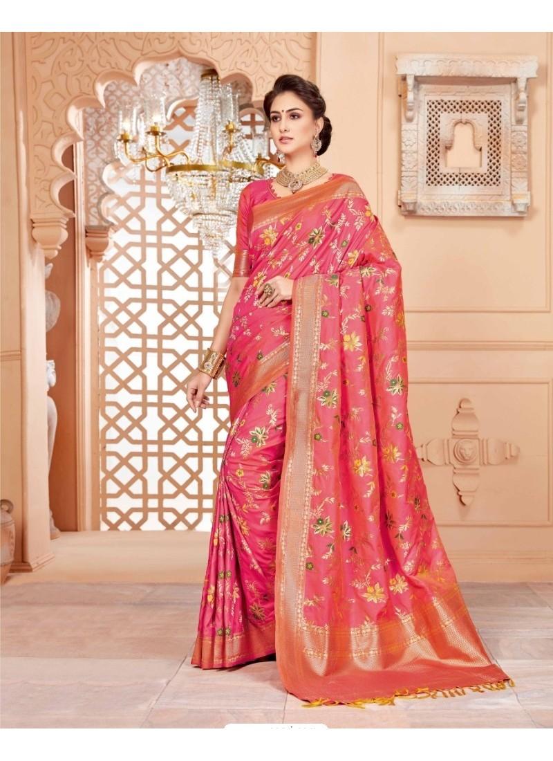 Sensational Peach Art Silk Saree