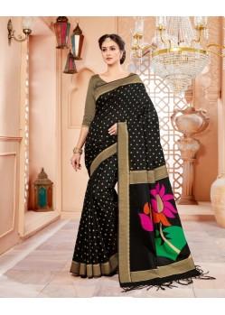 Stupendous Black Art Silk Saree