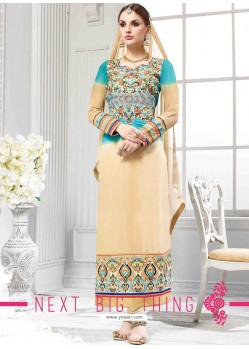 Cream Georgette Churidar Suit