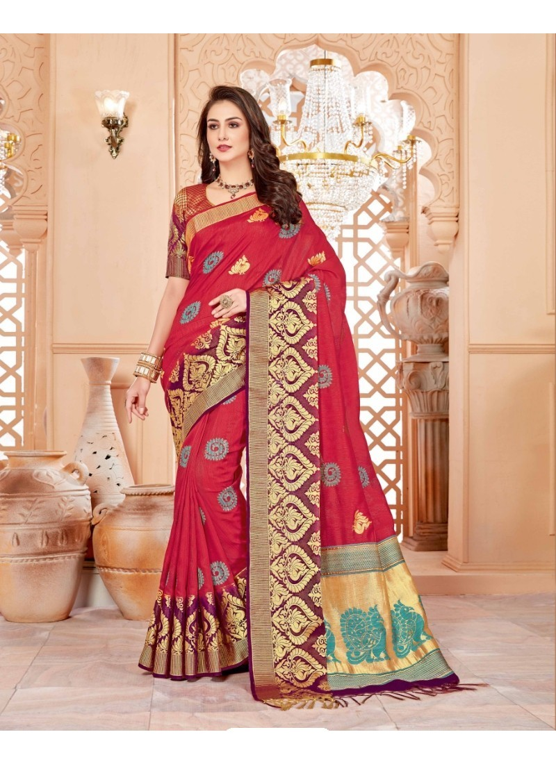 Attractive Crimson Art Silk Saree