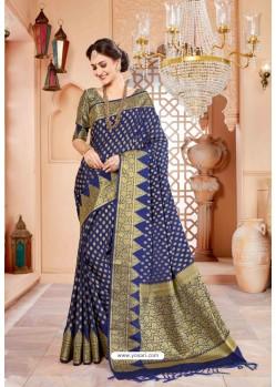 Pretty Dark Blue Art Silk Saree