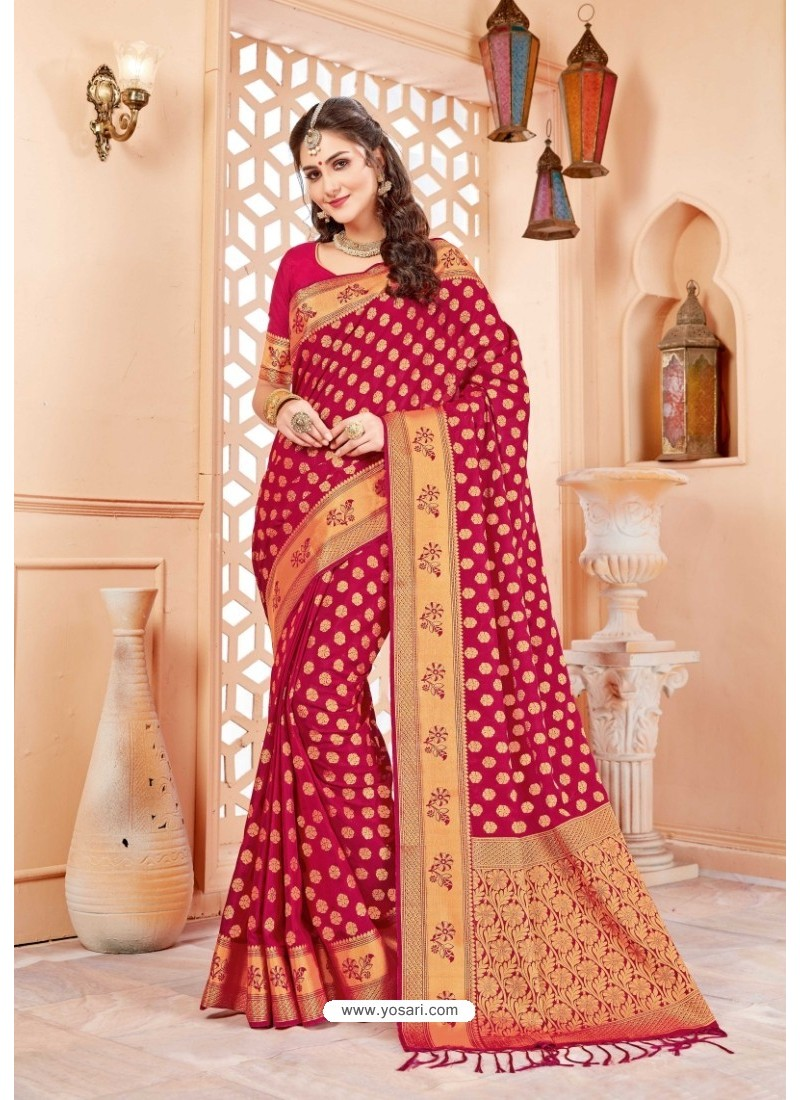 Heavenly Crimson Art Silk Saree