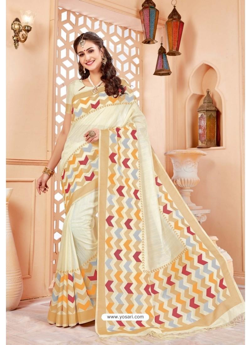 Glamorous Off White Art Silk Saree