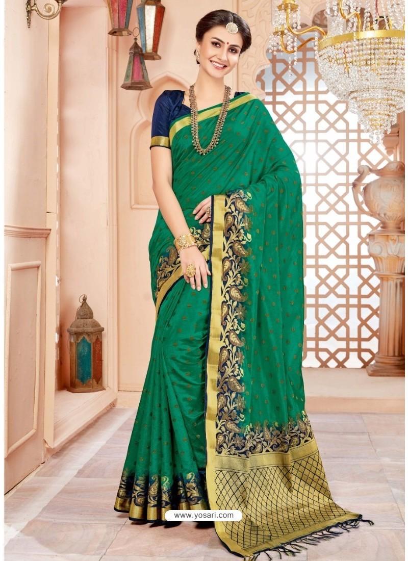 Graceful Dark Green Art Silk Saree