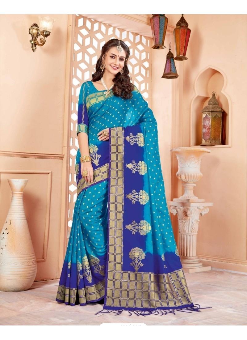 6bd81e973eda99 Buy Elegant Blue Art Silk Saree   Party Wear Sarees
