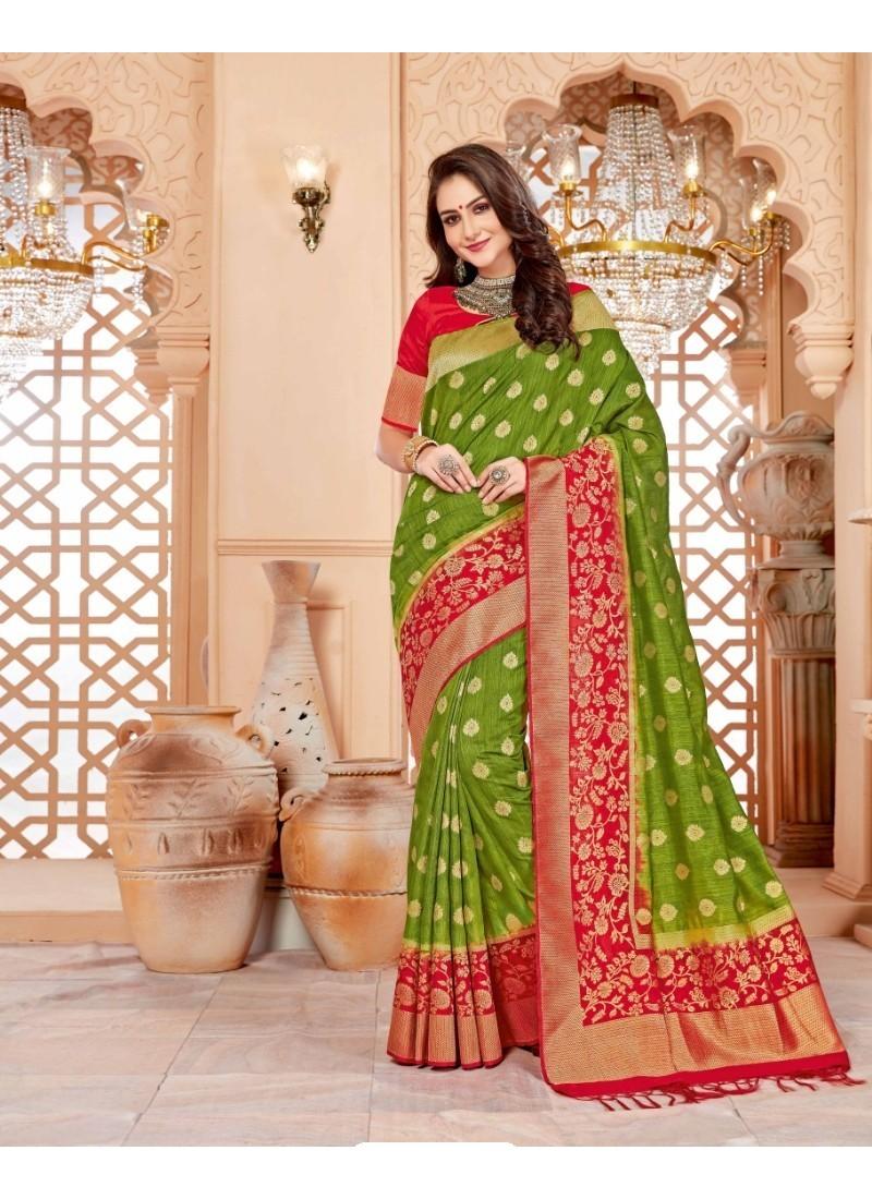 Enhanting Parrot Green Art Silk Saree