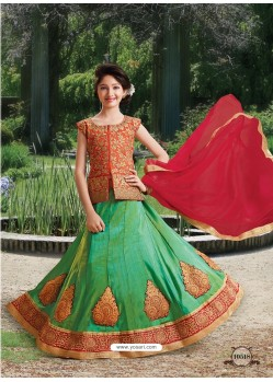 Jade Green Silk Embroidered Lehenga Choli