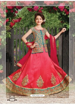 Dark Peach Silk Embroidered Lehenga Choli