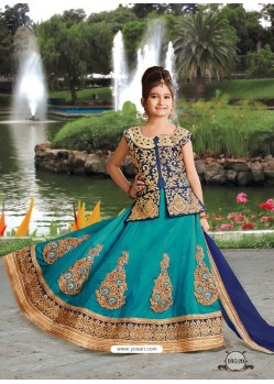 Turquoise Silk Embroidered Lehenga Choli
