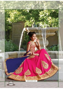 Fuchsia Silk Embroidered Lehenga Choli