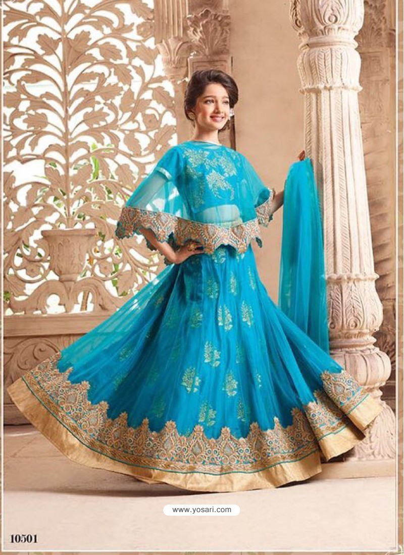 Eye Catching Turquoise Net Lehenga Choli