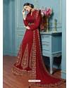 Maroon Georgette Embroidered Floor Length Suit