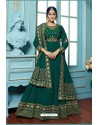 Teal Georgette Embroidered Floor Length Suit