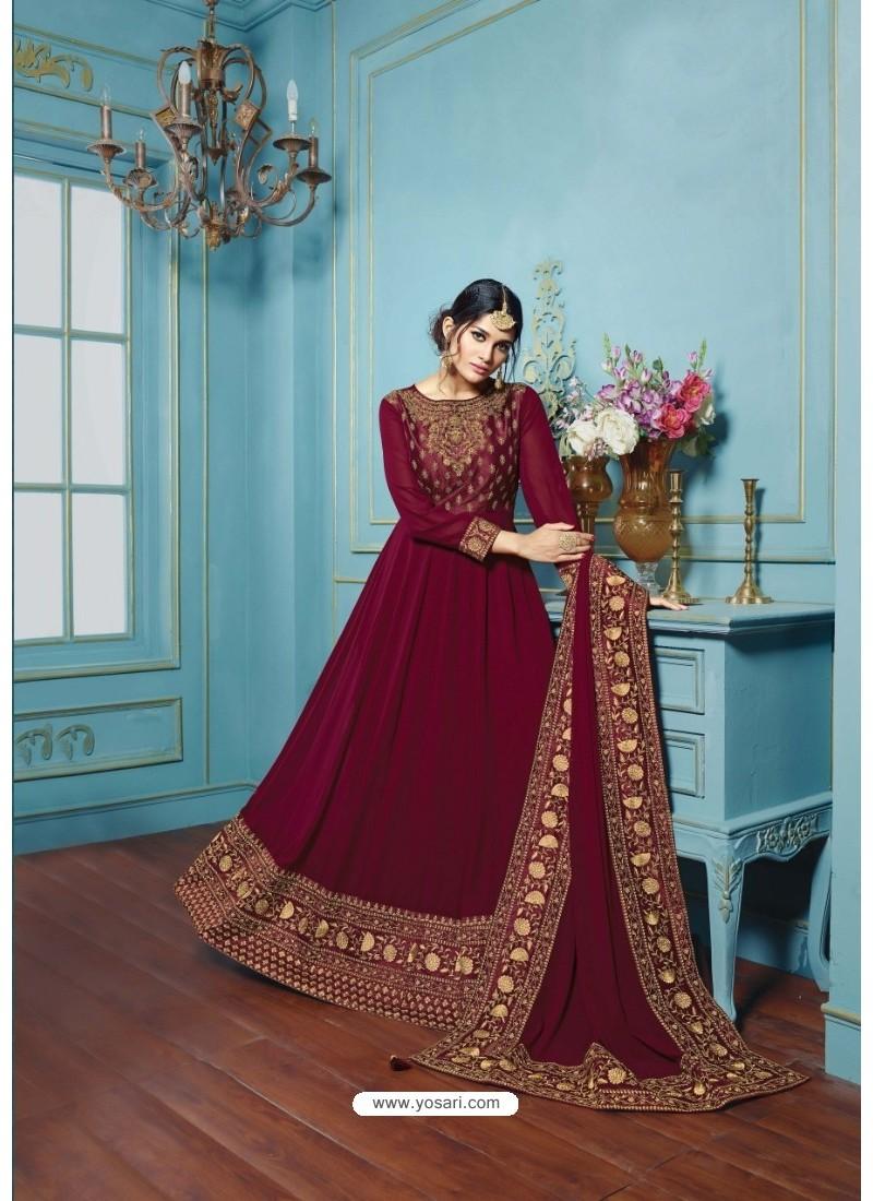 Deep Scarlet Georgette Embroidered Floor Length Suit