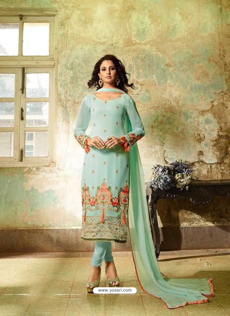 Sky Blue Georgette Embroidered Suit