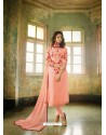 Peach Georgette Embroidered Suit