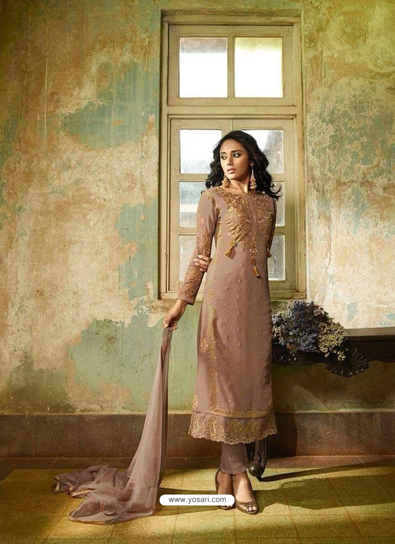 Camel Georgette Embroidered Suit