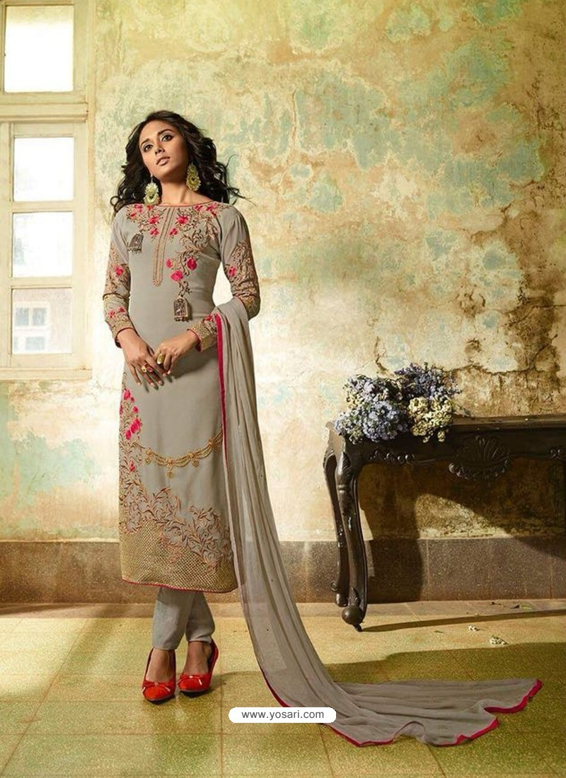 Grey Georgette Embroidered Suit