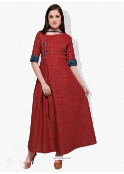 Fancy Crimson Cotton Rayon Kurti