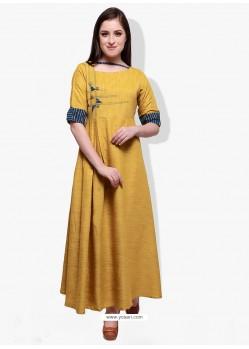 Fab Yellow Cotton Rayon Kurti