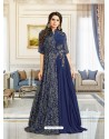 Mind Blowing Navy Blue Muslin Gown