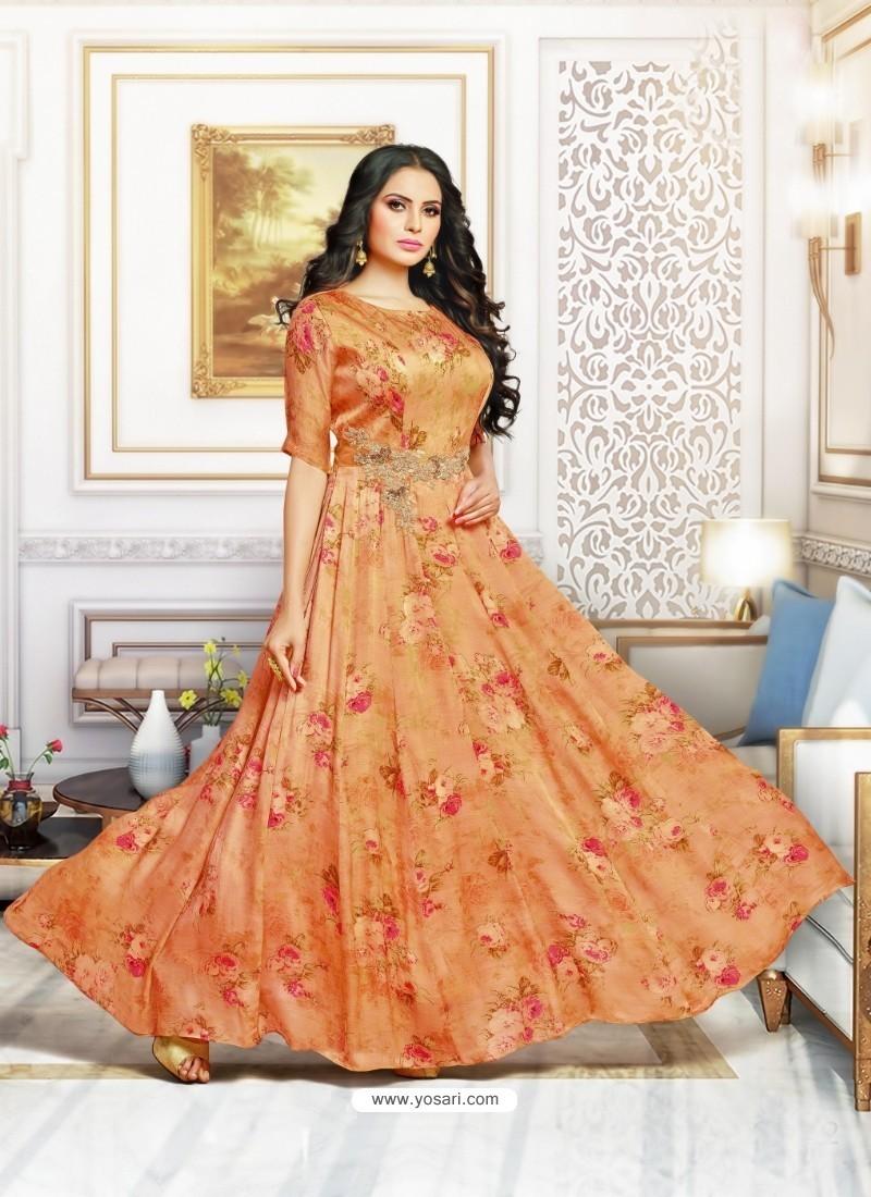 Pleasing Orange Muslin Gown